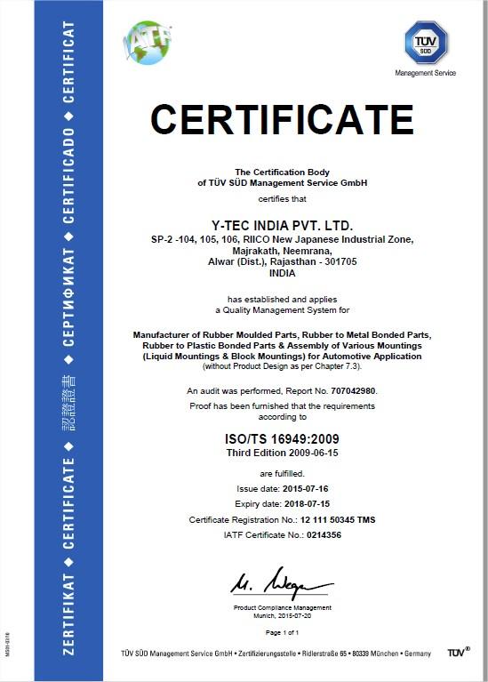 Certificate to Y-Tec India Pvt Ltd
